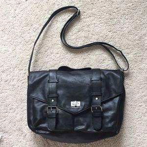 H&M Divided Black Faux Leather Messenger Bag
